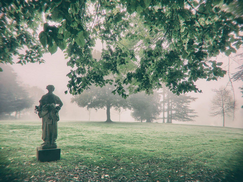 statue seule face à un parc dans le brouillard
